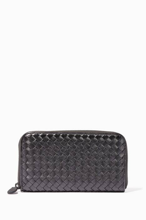 Metallic Grey Intrecciato Continental Zip Around Wallet