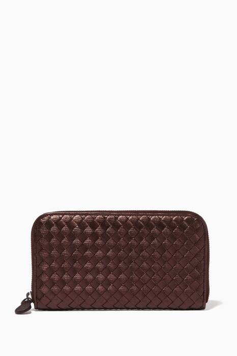 Metallic Red Intrecciato Continental Zip Around Wallet