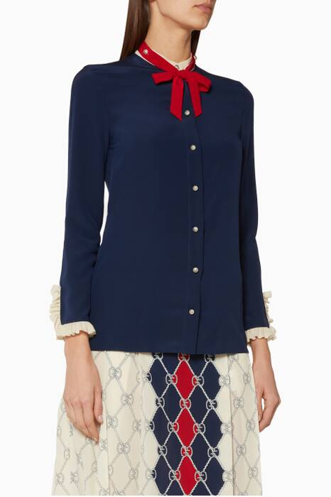 Blue Long-Sleeve Silk Shirt