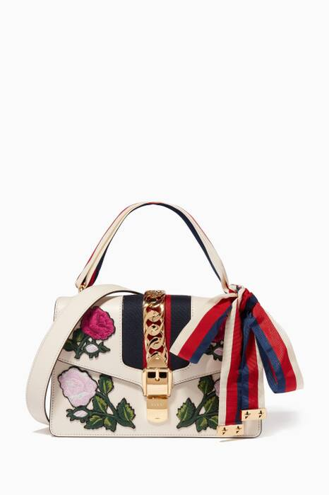 White Small Sylvie Embroidered Shoulder Bag