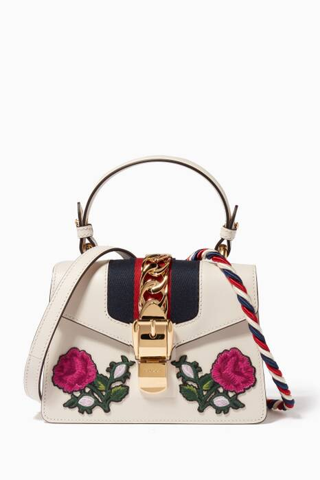 White Mini Sylvie Embroidered Top Handle Bag