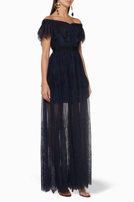 Navy Off-The-Shoulder Lace Maxi Dress