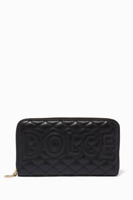 Black Quilted Matelassé Continental Wallet