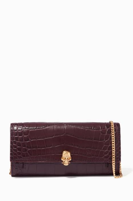 Burgundy Croc-Embossed Skull Chain Wallet