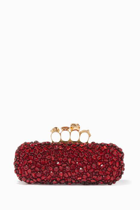 Red Crystal-Embellished Knuckle Box Clutch