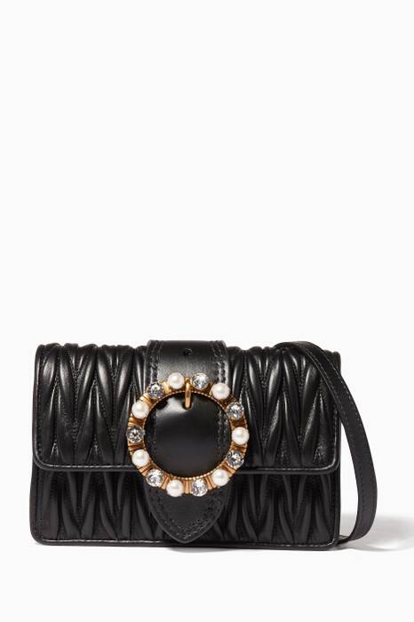 Black Pearl-Clasp Belt & Shoulder Bag