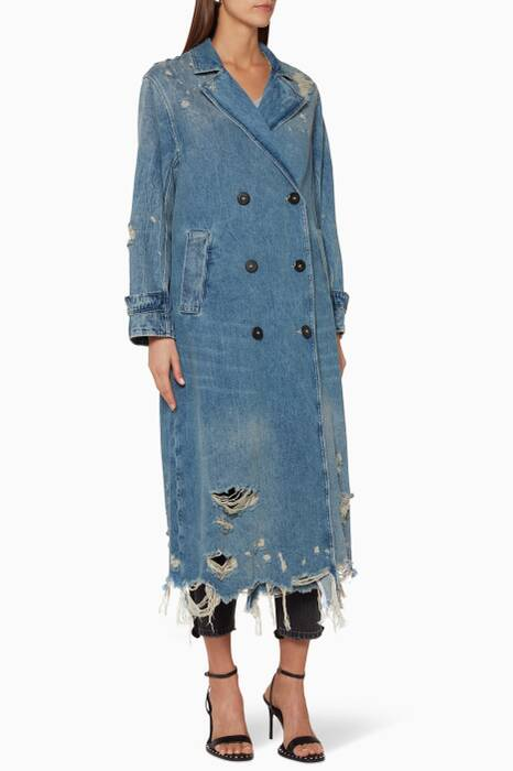 Light-Blue Denim Trench Coat