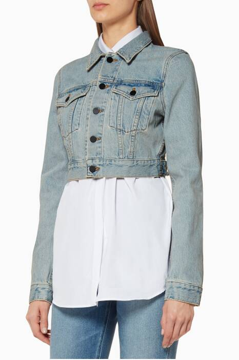 Bleached Bare Cropped Denim Jacket
