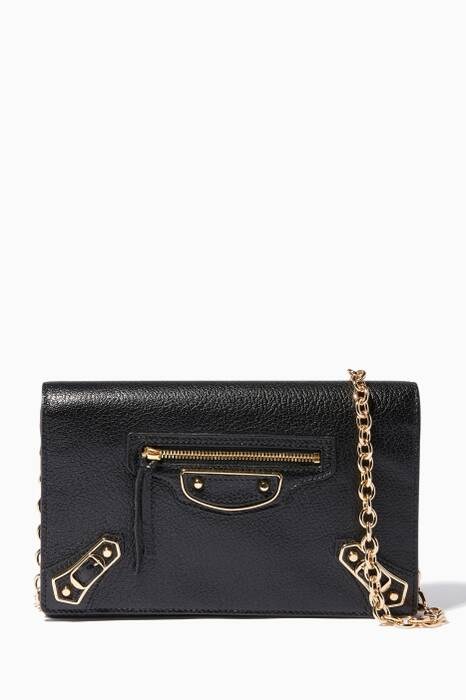 Noir Metallic Edge Wallet Shoulder Bag