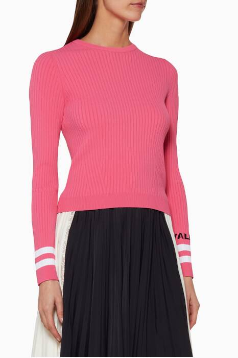 Pink Ribbed Knit Sweater