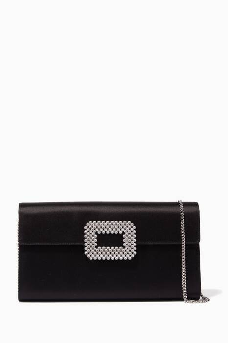 Black Buckle Diadem Envelope Clutch