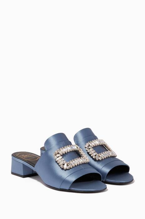 Blue Crystal-Embellished Satin Sandals