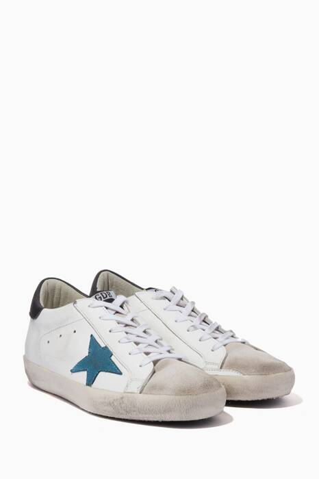 White & Navy Classic Contrast Low-Top Superstar Sneakers