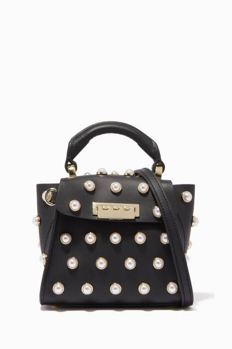 Black Embellished Eartha Mini Top-Handle Bag