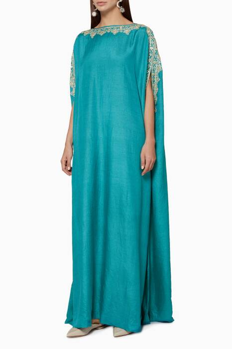 Blue Embroidered Cape Kaftan Dress