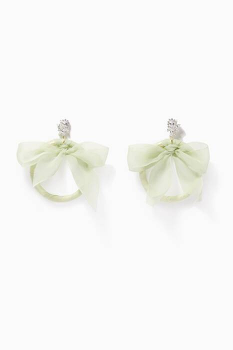 Seafoam Monach Tuxedo Bow Earrings