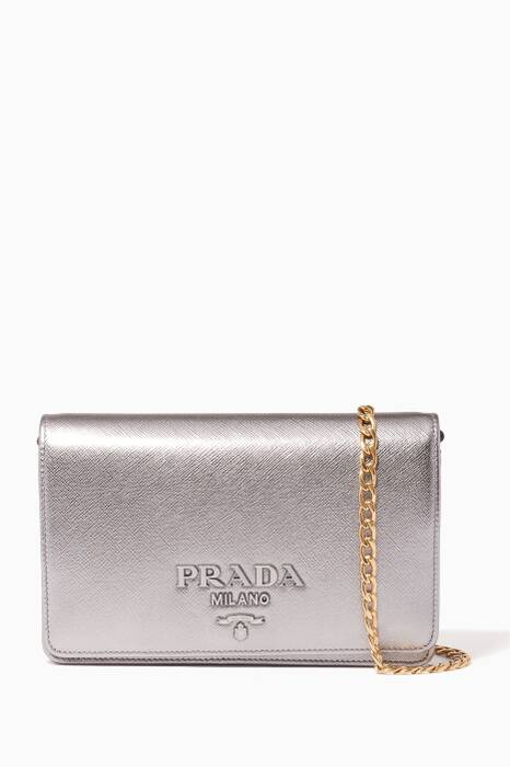 Metallic-Silver Monochrome Wallet Chain Bag