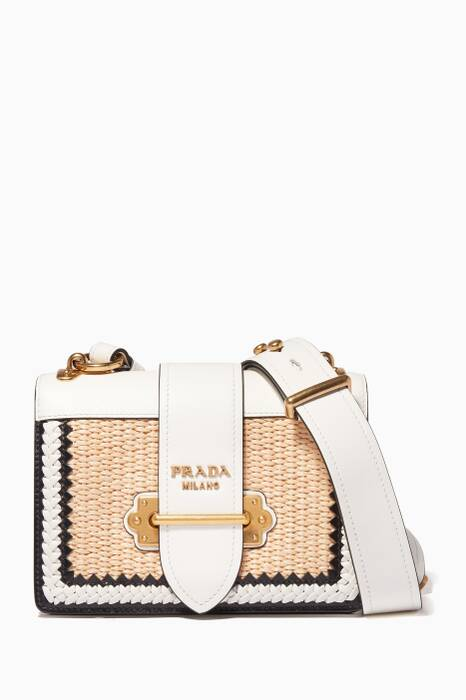 White Small Raffia Cahier Leather Shoulder Bag