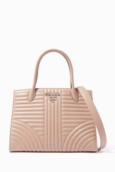 Powder-Pink Diagramme Medium Leather Tote Bag