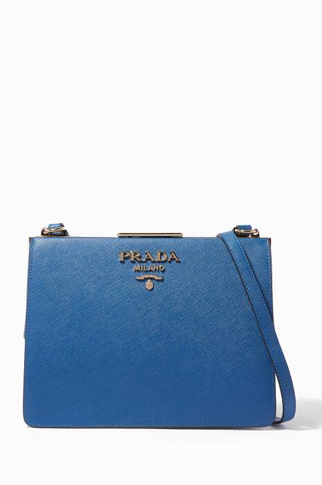 Blue Frame Saffiano Small Shoulder Bag