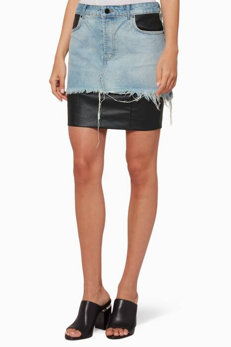 Light Blue Denim & Leather Hybrid-Moto Mini Skirt