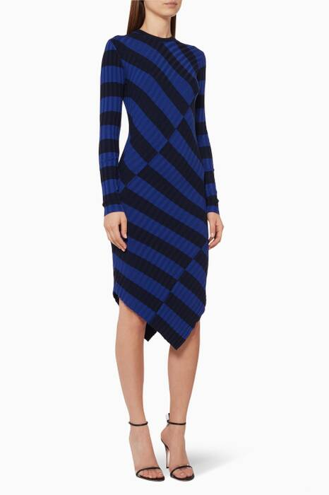 Cobalt-Blue Asymmetric Striped Whistler Dress