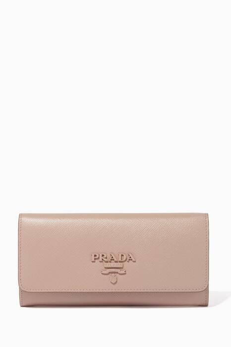 Beige Monochrome Fold-Over Wallet