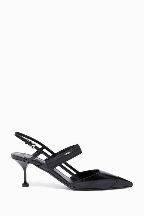 White & Black Buckled Point-Toe Pumps