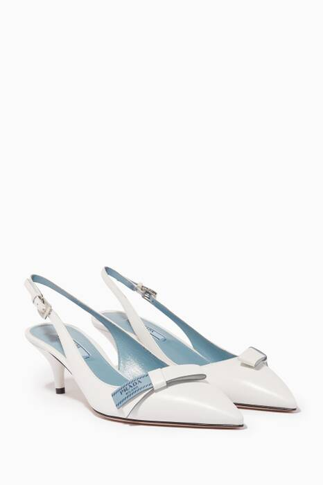 White Etiquette Leather Slingback Pumps