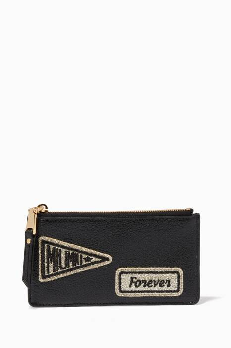 Black Patches Zipped Cardholder