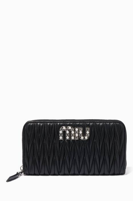 Black Crystal & Pearl Embellished Zip-Around Wallet