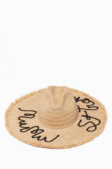 Naturale Slogan-Embroidered Straw Beach Hat