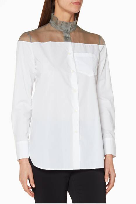White & Grey Mandarin Collar Top