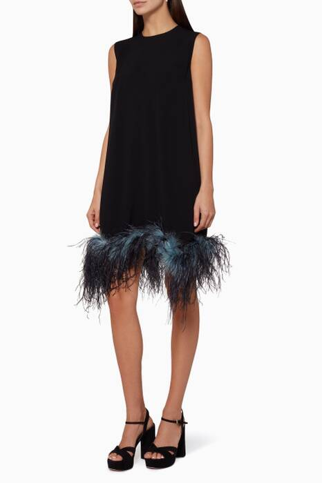Black Feather-Trimmed Shift Dress