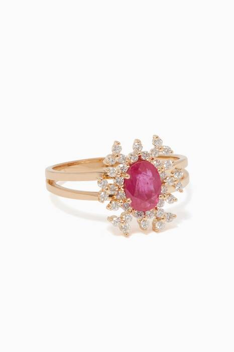 Yellow-Gold, Diamond & Ruby Spectrum Ring