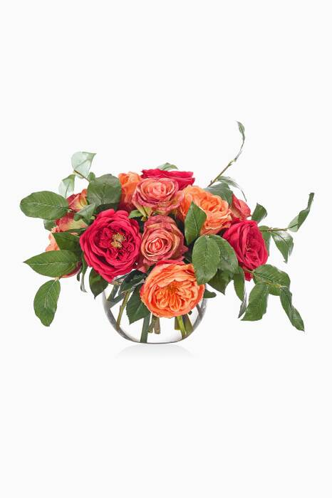 Orange & Fuchsia Rose Bouquet With Glass Bubble Vase
