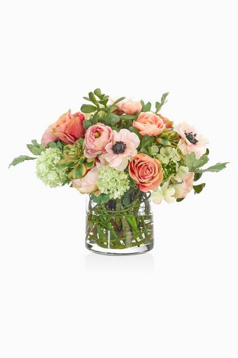 Pink Ranunculus & Anemone Bouquet With Glass Cylinder Vase