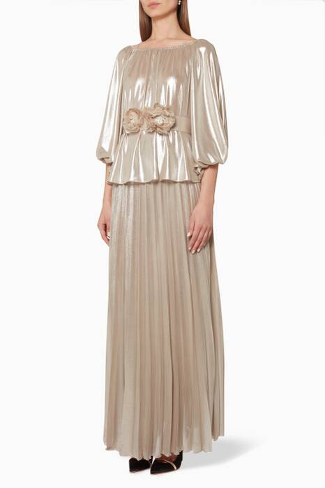 Beige Lamey Blouse & Pleated Skirt