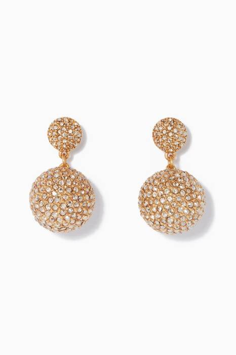 Gold Pavé Crystal Dome Drop Earrings