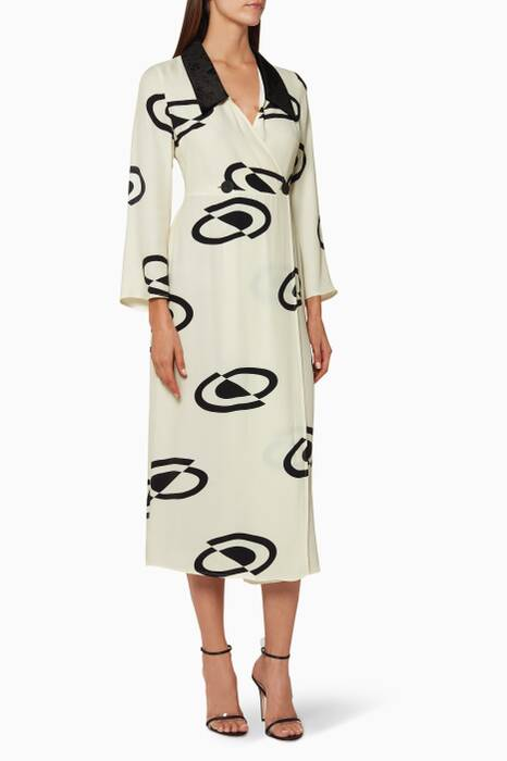 Cream Luna Midi Wrap Dress