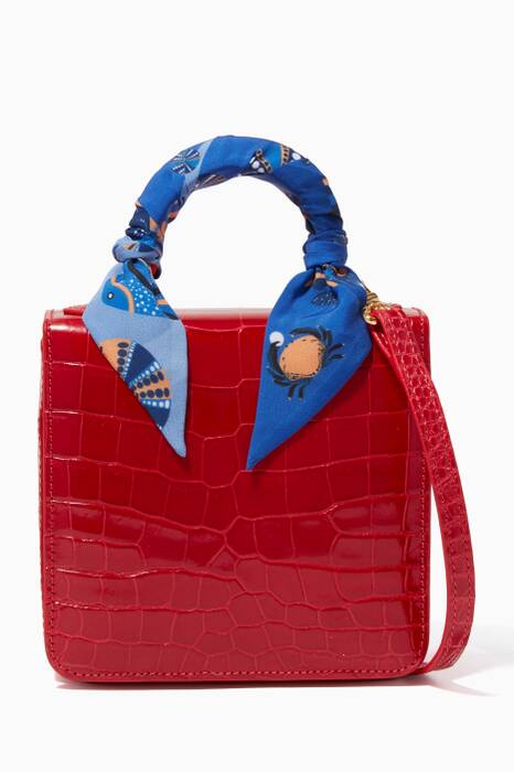 Red Square Square F Crocodile Top Handle Bag