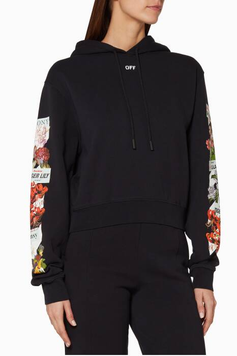 Black Flower Shop Printed Hooded Sweatshirt