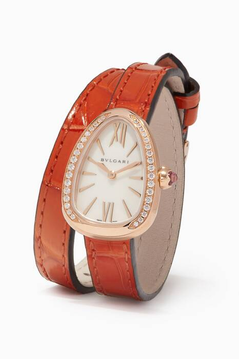 Rose-Gold, Leather & Diamond Serpenti Watch
