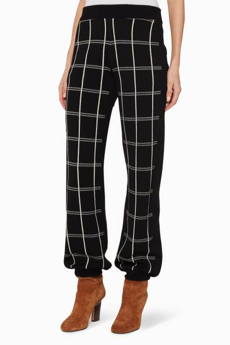 Black Checked Tapered Wool Pants