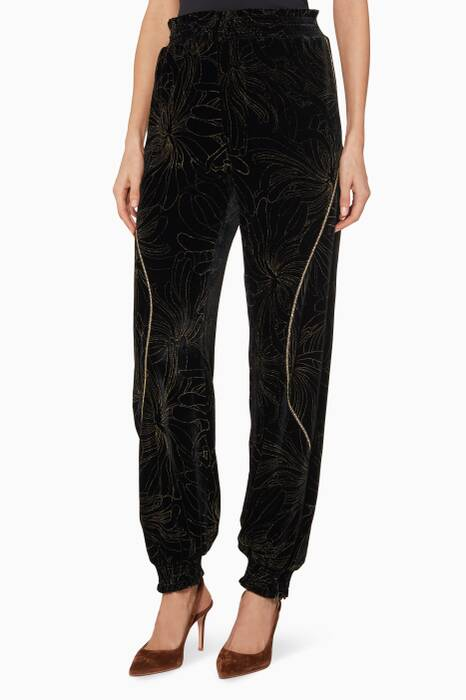 Black Gold Pigment Print Pants