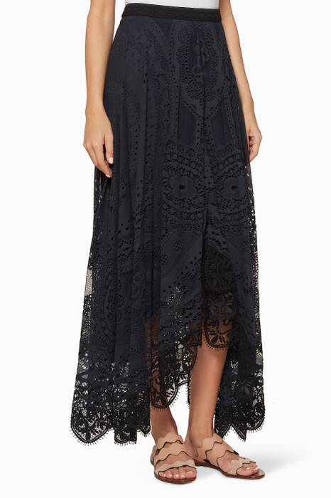 Navy Asymmetric Lace Skirt