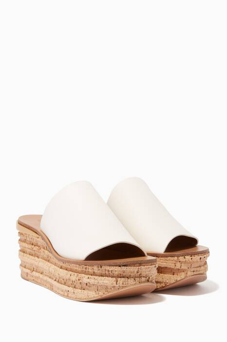 White Leather Camile Wedge Mules