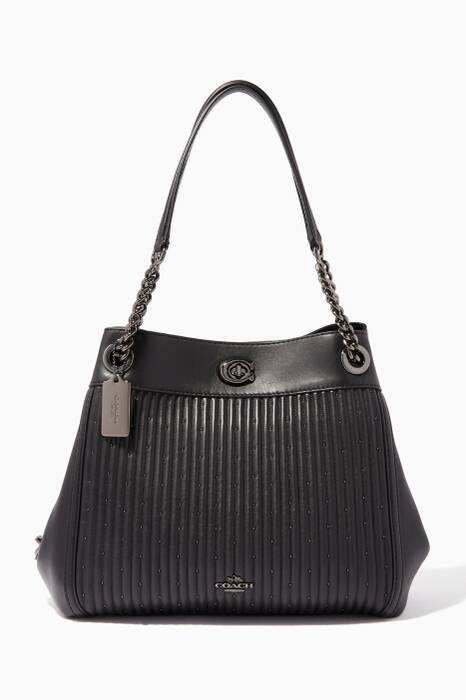 Black Turnlock Quilted Edie Shoulder Bag
