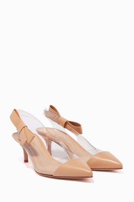 Light-Pink Plexi Bow Pumps