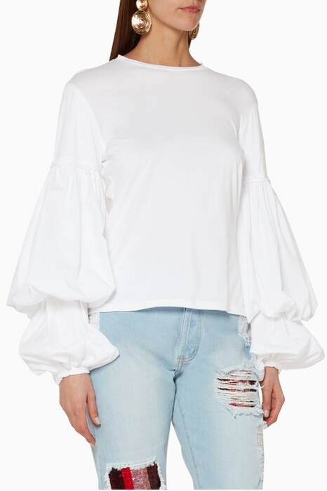 White Balloon-Sleeved Catrina Top